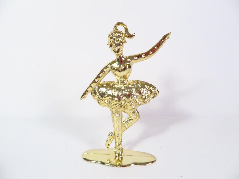 vintage gold tone ballerina earring tree holder ballerina