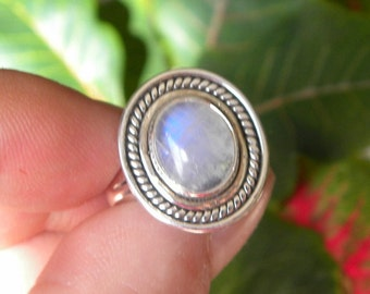 Moonstone Ring Handmade Fine Rainbow Blue Flash 11x8mm Gemstone Ring Sterling Silver Ring Size 9 1/4 Take 20% Off Rainbow Moonstone Jewelry