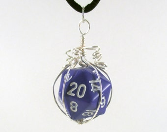 Made to Order Purple Twenty-sided Die Silver Wire Wrapped Pendant on Black Nylon Cord