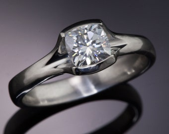 Cushion Cut Light Silvery Gray Moissanite Palladium Solitaire Engagement Ring with Fold Half Bezel Setting, Ready to ship size 5 to 8.5
