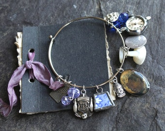 Antique Button Curiosity bangle, vintage, charms, victorian, bracelet, jewelry, assemblage, up cycled,
