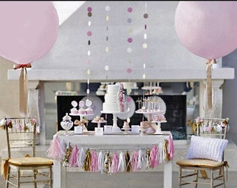 Three feet ballons plus tassel garlands and gold ribbon as shown in the picture