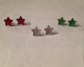 Colorful Rhinestone Star Earrings