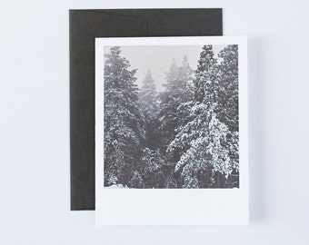 Christmas Card, Unique Holiday Card, Pine Trees, Snow, Winter Card, Christmas Card Set, Blank Cards, Stationery, Paper Goods