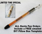 Sophisticated Kente Pen - Black Fine Line Ink - Refillable - Includes Limited Time Special FREE DIY Pillow Box Template emailed to you