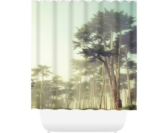 Foggy Forest Shower Curtain for Cool Bathroom Decor