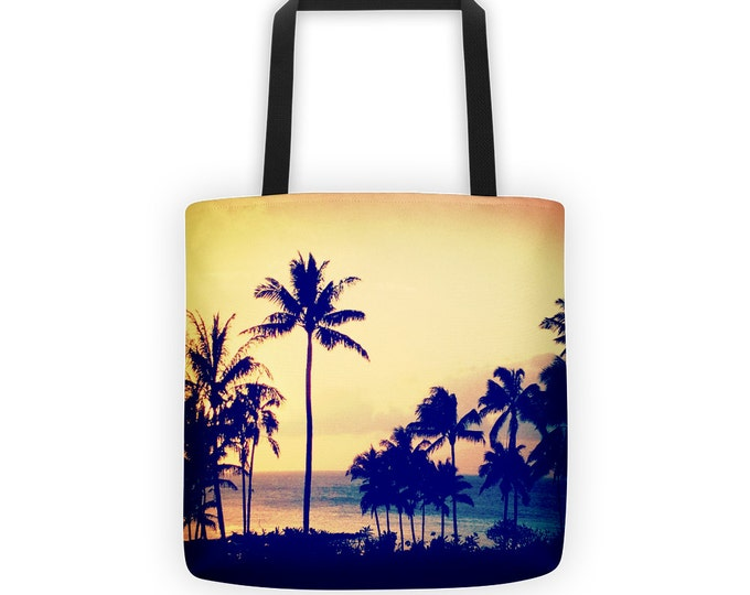 Tropical Palm Tree Tote for Eco Shopping and School and Sundry