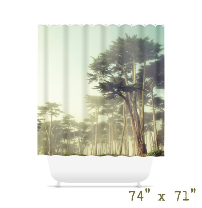 Foggy forest shower curtain for cool bathroom decor for Forest bathroom ideas
