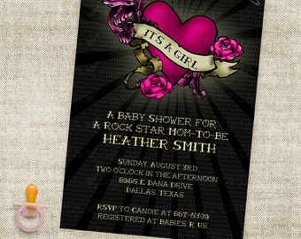 Girl Rock Star Baby Shower Rockabilly Tattoo Inspired Invitation Digital Printable File with Professional Printing Option