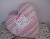 Heart Pillow Valentines Day Memory Pillow Pink and White Candy Stripe Heart Lace Pocket Vintage Piece Coverlet Home Decor Decorative Pillow