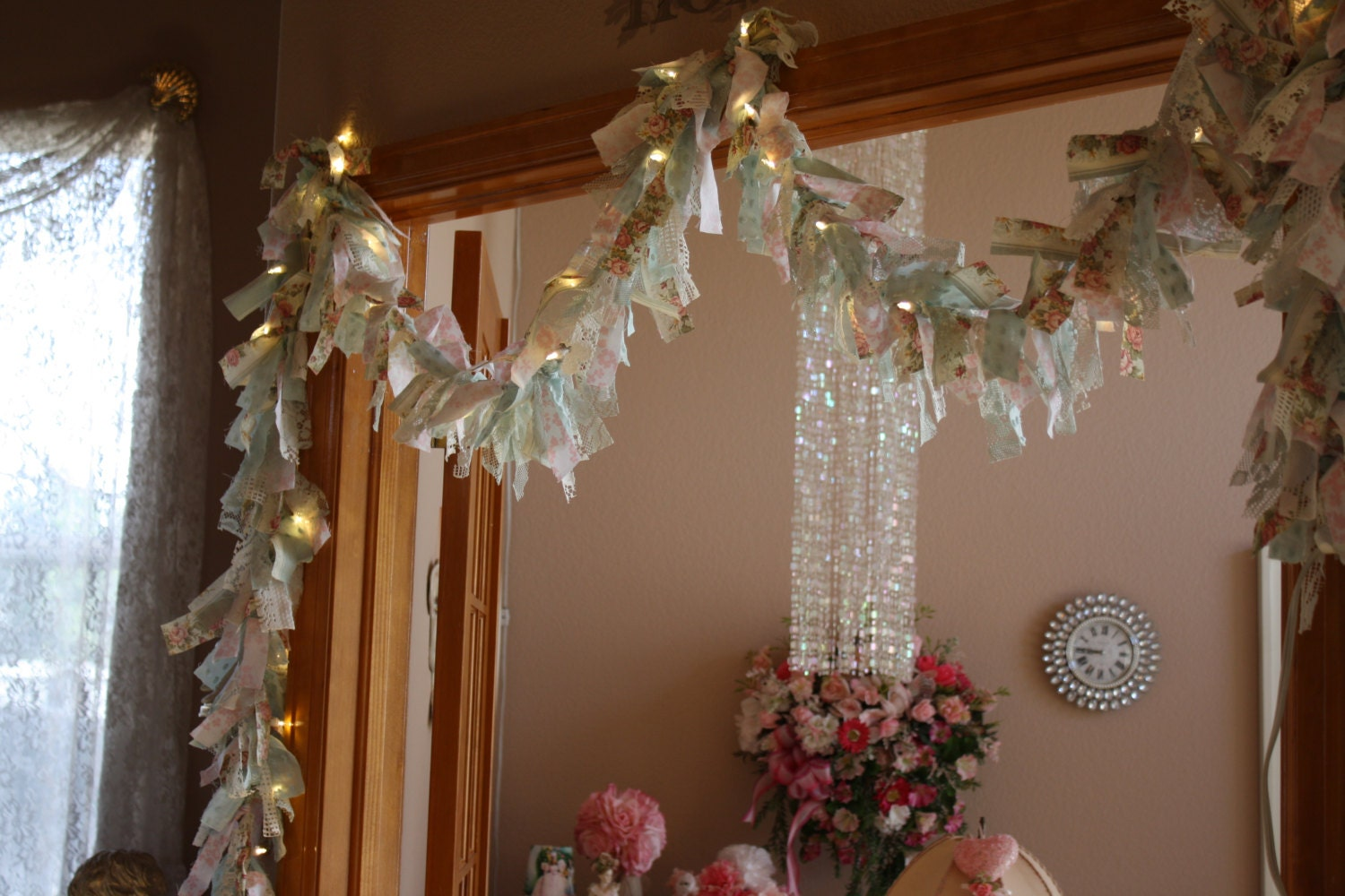shabby chic cottage lighted rag garland wedding banner