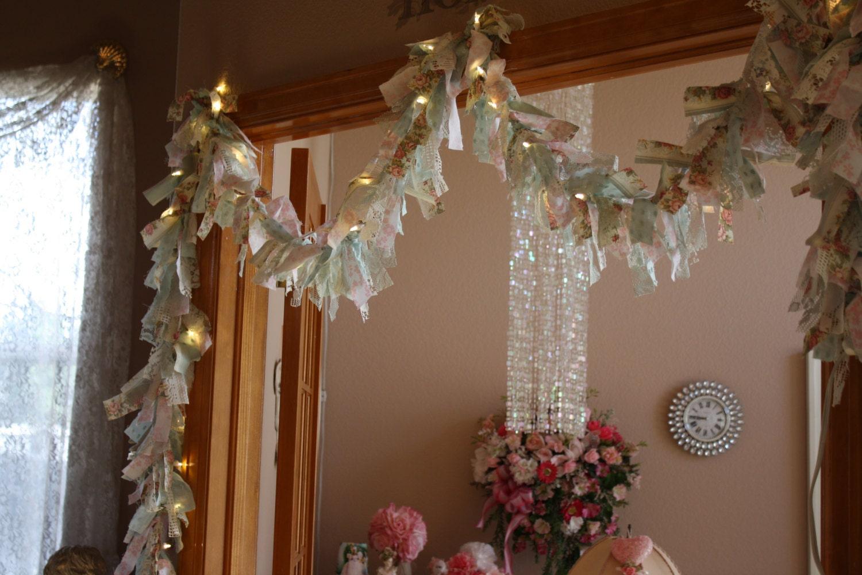 shabby chic cottage lighted rag garland wedding banner ForShabby Chic Garland Lights