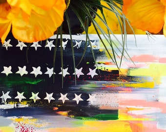 Sale American Flag New ABSTRACT Painting - ABSTRACT EXPRESSIONISM Modern Painting ready to ship - Lana Moes Art
