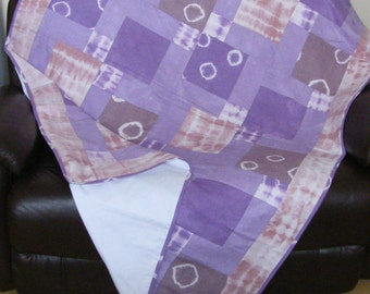 Quilt,Handmade Patchwork quilt made with HAND DYED fabrics.