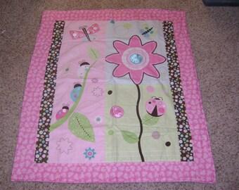 Pink Bug Floral Baby Blanket