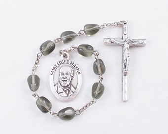 Zelie & Louis Martin Saint Chaplet, Gray Vintage German Glass Beads - Parents of Saint Therese the Little Flower - Holy Example of Matrimony