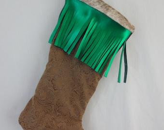 Custom Western Christmas Stocking Cowhide Leather Metallic Fringe Concho Holiday Sock