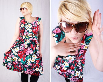 Bright 60s Floral Summer Dress / Size Large - X-Large