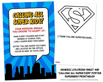 "INSTANT ""I Think You Are Super"" Printables - Superhero Teacher and Staff Appreciation Week"