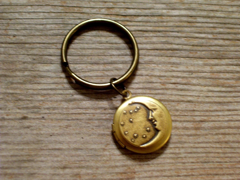 Moon And Stars Locket Keychain Art Deco Celestial Locket Key