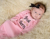 Newborn gown girl Just born gown Infant gown Baby girl gown Pink and gold glitter gown Take home outfit Baby shower Gift