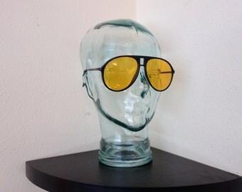Vintage AVIATOR Oversized Yellow Lenses Black Hunter S. Thompson Nightvision Sunglasses Blue Blocker