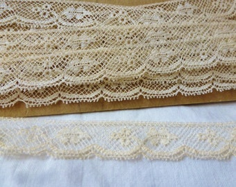 Vintage Cream Lace Delicate Made Lace Trim Clothing Textiles Sewing old stock 2 1/2 yards Vintage Fabric by Vintagelady7