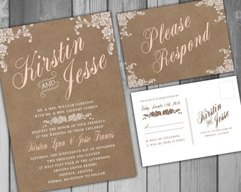 Wedding Invitation Wedding Invite Rustic Wedding Romantic Wedding Printable Wedding Invitation Fall Wedding  RSVP Card Burlap Wedding