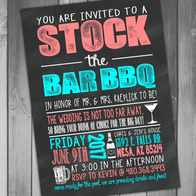 stock the bar invitation stock the bar party wedding bbq i do