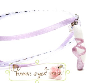 Pointe Shoe Necklace Pale Lavender Purple Polymer Clay Ballet Slipper Pendant