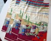Set of 4 Vintage 40s Mexican Hacienda Novelty Print Kitchen Tea Towels