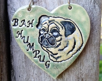 Bah Humpug - Green Ceramic Ornament