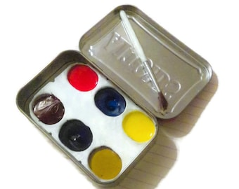 Travel Watercolor Kit- handmade paints by Evil Eye Color- altoid tin