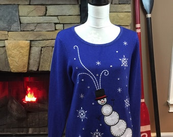 Vintage Ugly Christmas Sweater Royal Blue Embroidered Snowman Isabella's Closet Size Small