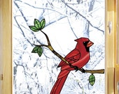"CLR:WND - Cardinal Bird Perched on Branch - Stained Glass Style Vinyl Decal for Windows ©YYDC (5.75""w x 6""h)"
