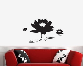 "WALL ~ Lotus Pond - LARGE - Wall Vinyl Decal (20""w x 12""h) (BLACK)"