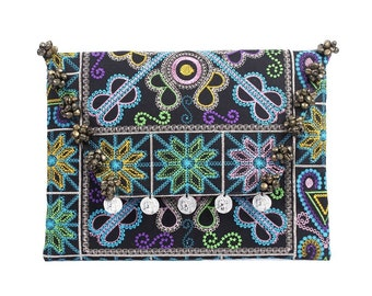 Belled Flap Clutch Embroidered Fabric HMONG Handmade Thailand (BG306WB-62C2)