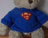 Teddy Bear Sweater Jumper - Hand knitted -  Royal Blue with Superman motif - fits Build a Bear