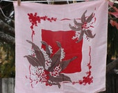 Vintage Handkerchief, Flower Bouquet, Lovely Print, Vintage Fabric, Red Square, Pink Hanky, Red and White Flowers