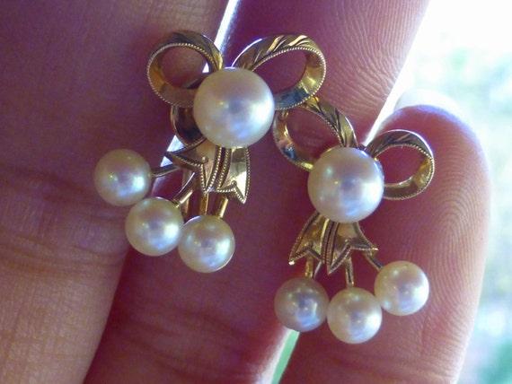 Vintage Mikimoto 14k Akoya Bow Earrings Marked Beautiful