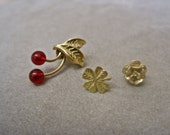 Cherry Earring Post SINGLES Gold Four Leaf Clover and Gold Rose Stud 3 DIFFERENT Vintage Post Rockabilly Collection