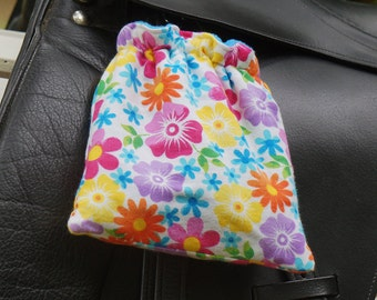 Ready to Ship - Rainbow and Lavender Flowers Reversible Stirrup Covers