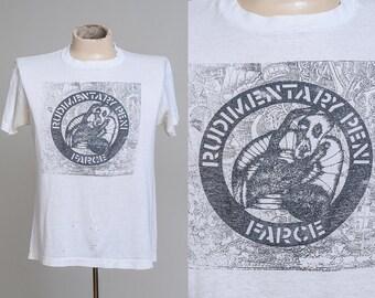 80s RARE Rudimentary Peni Farce Early Punk T Shirt