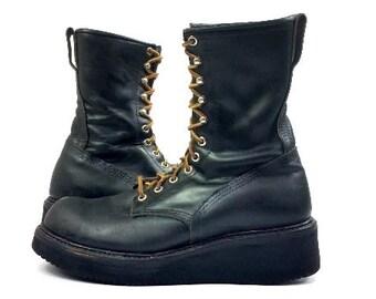 Vintage Red Wing Platform Custom Black Leather Combat Boots, men's 8 E