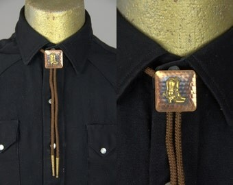 1960s Copper Cowboy Boots Western Bolo Tie