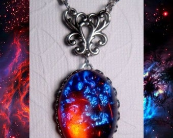 Dragons Breath Necklace - Mexican Opal Necklace - Fire Opal - Galaxy