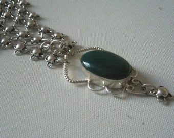 Green agate drop necklace/pearl drop green collar chainmaille/fantasy necklace