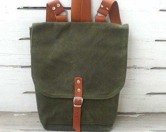 Army Green Waxed Canvas  Mini Backpack  with Adjustable Leather Strap / School / Travel