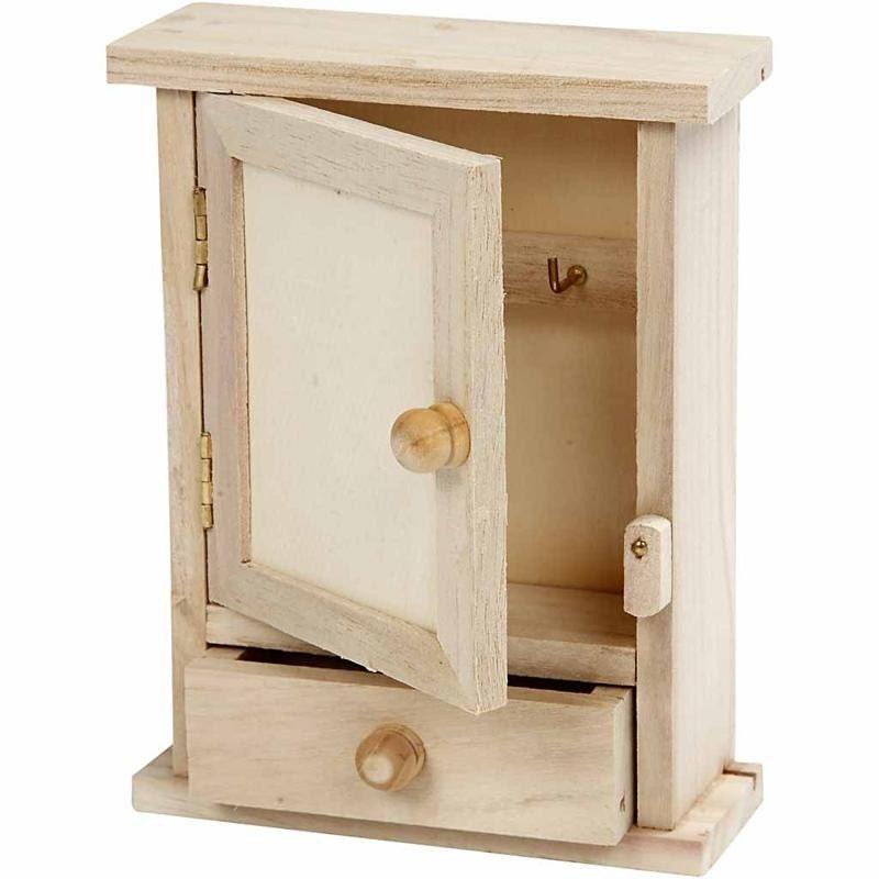 Mini key cabinet box plain wood paint decorate