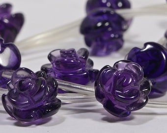 Amethyst 12mm 2 Beads Carved Rose Bead Natural Gemstone Bead Amethyst Rose Bead